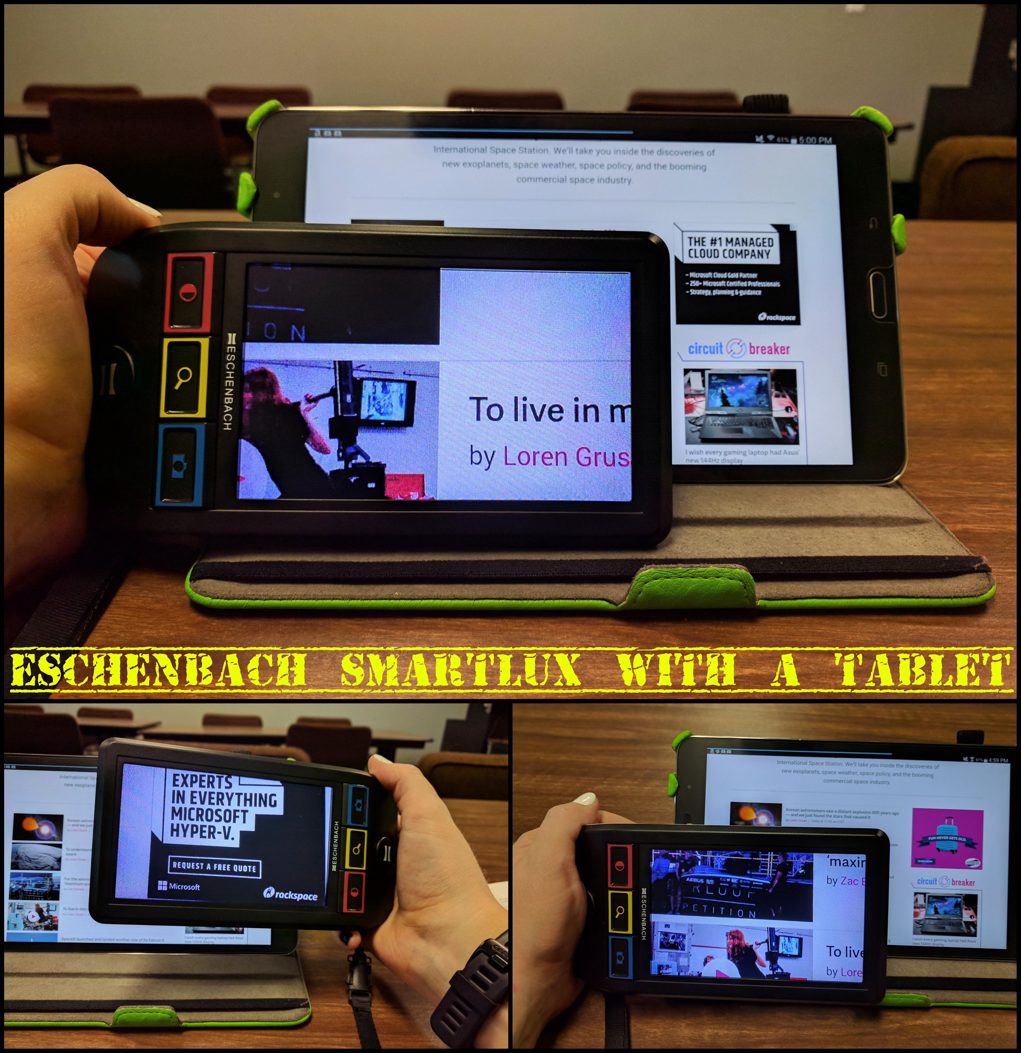 Three photos show the Smartlux being held in front of a small tablet propped up on a table with news article text and thumbnails on the screen.