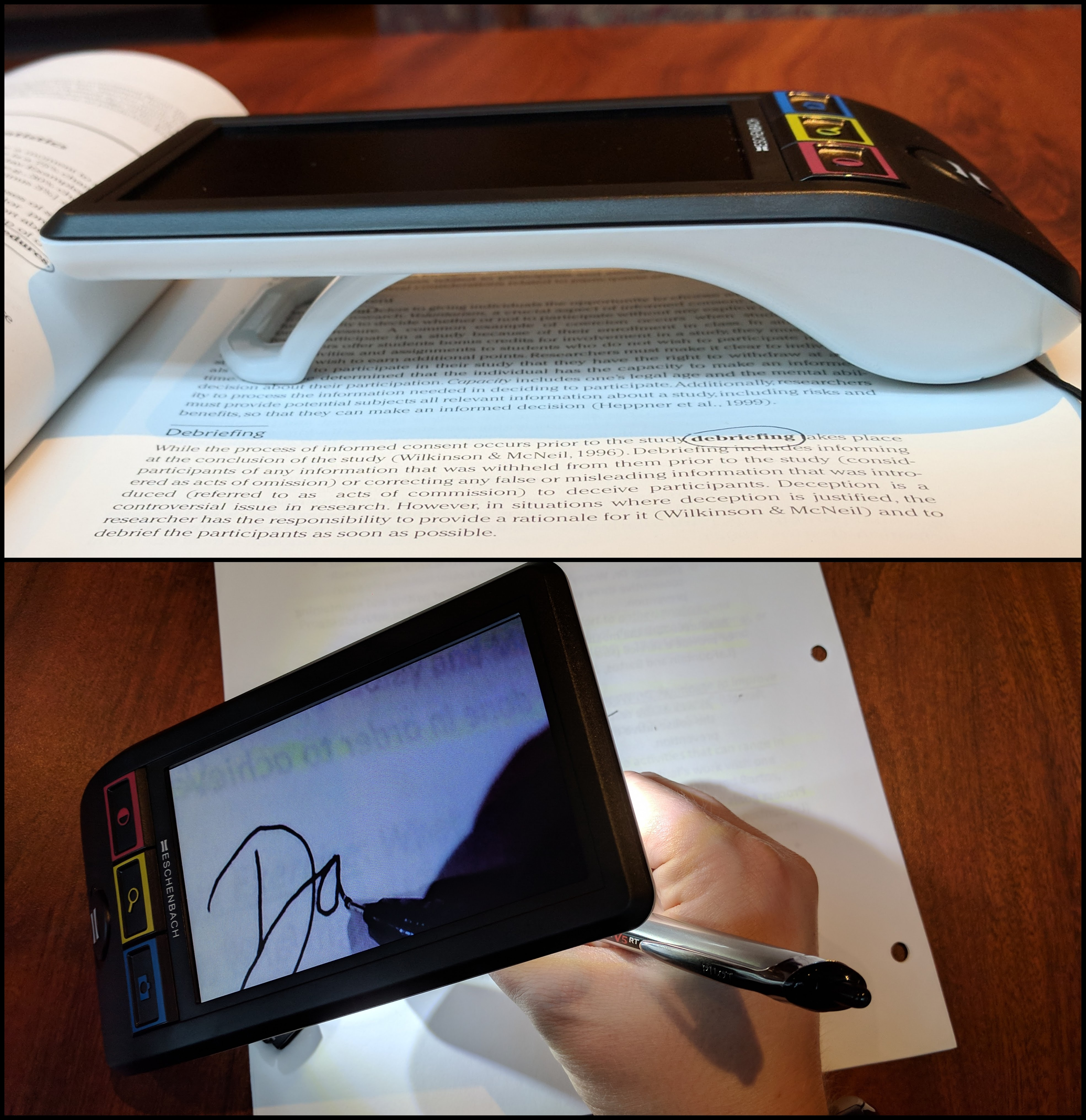 Am image containing two separate photos. One shows the Smartlux on a textbook in the typical reading position with the stand extended all the way. The second shows the stand in its first open position at an angle as a hand is writing below the camera. A partial signature is visible on the screen.