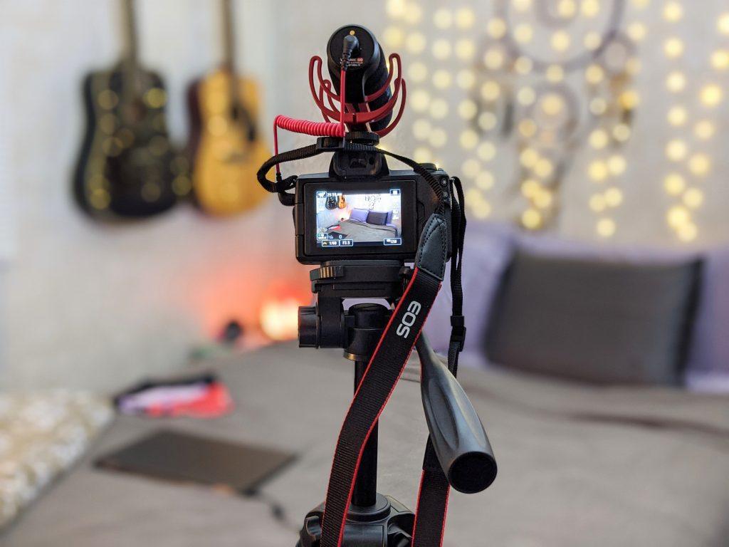 Canon M50 on a tripod with a shotgun mic