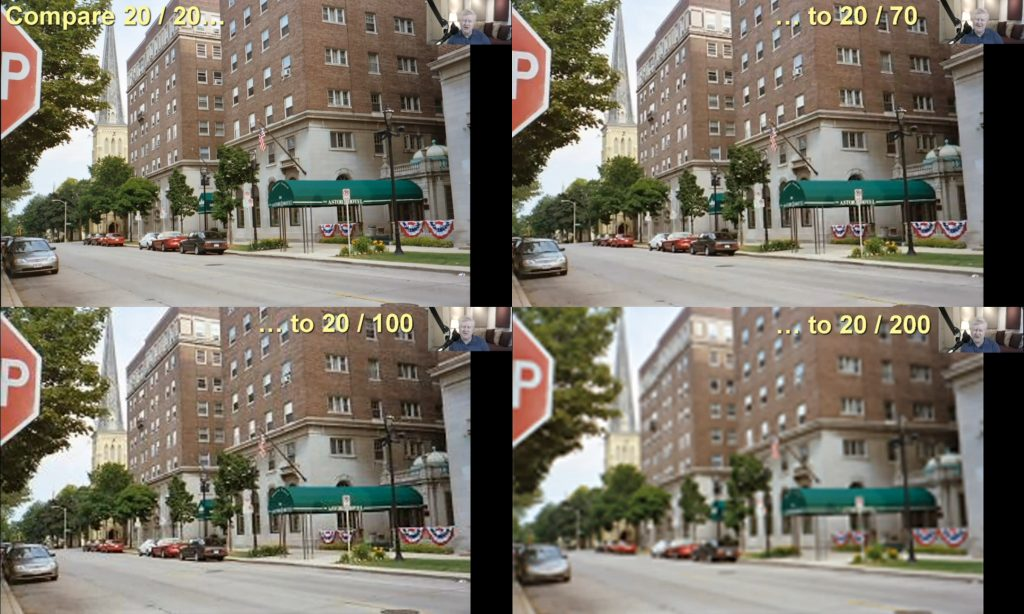 Four photos comparing visual acuity by adjusting photo resolution