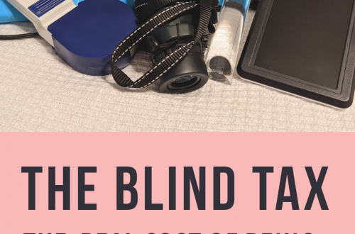 The Blind Tax featured image. It features a custom white cane, handheld CCTV, lighted magnifier, monocular, and other gadgets in a small pile.