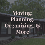 Moving Featured image with text over a photo of a house