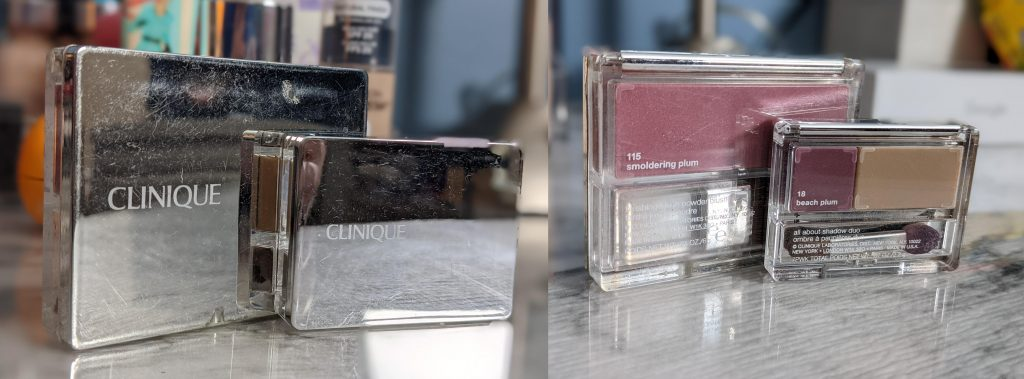 two photos of two small Clinique makeup palettes