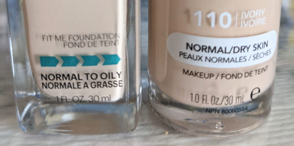 two foundation bottles featuring the words: Normal to oily and Normal to dry skin