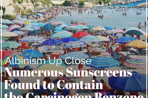 Sunscreens Found to contain benzene featured image with umbrellas and title text